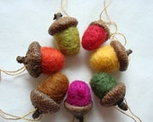 Fall Acorns - Needle Felted Wool, Hanging, Set of 7