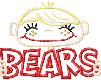 008 Bears Boy Football or Sports Fan Applique Design 5x7 and 6x10 INSTANT DOWNLOAD