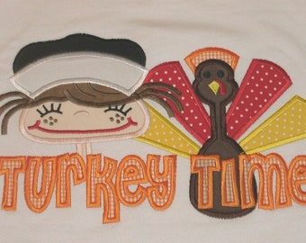 Turkey Time Girl Thanksgiving Applique Design 5x7 and 6x10 INSTANT DOWNLOAD