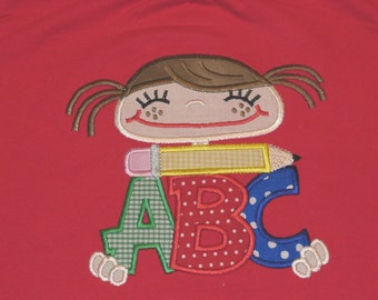 001 ABC Girl and Boy Applique Designs 5x7 INSTANT DOWNLOAD