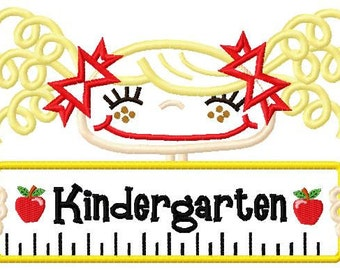 Kindergarten Boy and Girl Applique Design 5x7 and 6x10 INSTANT DOWNLOAD