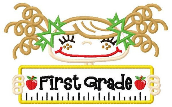 First Grade Boy and Girl Applique Design 5x7 and 6x10 INSTANT DOWNLOAD