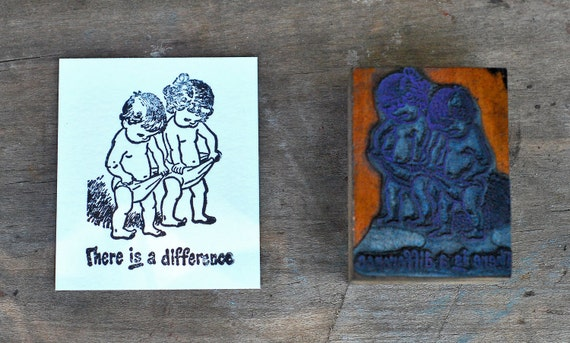 Boy and Girl Toddler Vintage Letterpress Wood Printers Blocks Printer Stamp