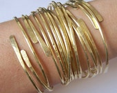 Gold Bangles - Thick Open End Bangle Bracelets - 15 Bangles - Hammered Smooth Notched Dimpled - Made to Order in Solid Brass