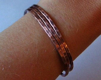 Copper Cuffs - 3 Hammered and Oxidized Cuff Bracelets - Made to Order