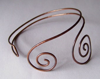 Armlet - Upper Arm Cuff - Armband - WRAP AROUND Arm Torc - Available in Copper - Brass - Bronze - German Silver - Made to Order