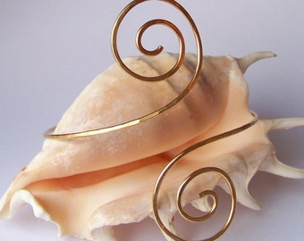 Armlet - Armband - Gold Hammered Double Swirl Arm Band - Upper Arm Bracelet - Bronze - Brass - Copper - German Silver - Upper Arm Jewelry