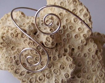 Silver Upper Arm Jewelry - Upper Arm Bracelet - Double Down Swirl Silver Armband - Smooth - German Silver Upper Arm Bracelet