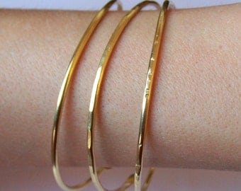 Brass Bangles - Thick Open End Bangle Bracelets - Set of 3 Bangles - Hammered Smooth Notched - Brass - Copper - German Silver - Bronze