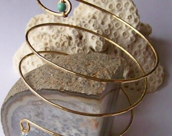 Armlet - Armband - Brass Hammered Coiled Upper Arm Bracelet - Upper Arm Cuff - Gemstone - Swarovski Crystal - Copper - Brass - German Silver