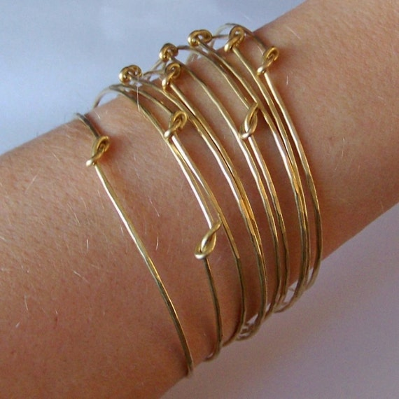 Bangle Bracelet - 10 Knotted Hammered Stackable Bangles - Created in Gold Brass - Bronze - Copper - German Silver - or Mix and Match Metals