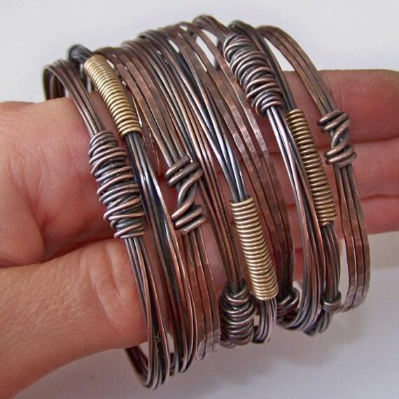 Copper Bangles Bracelets - 9 Stacking Bangles - Stackable Bangles - Copper Bangles - Made to Order