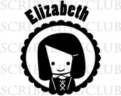 Perosnalized Name Clear  Stamp - Girl 5 - Mounted