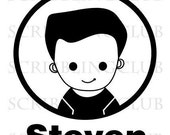 Custom Name Rubber Stamp - Boy 1 - Mounted Clear Polymer