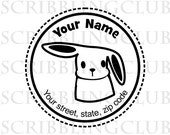 Custom Return Address Rubber Stamp Cute Bunny Rabbit design Clear Polymer Stamp Mounted