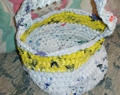 ON SALE Upcycled plarn crocheted basket/medium