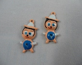 2 Cute Vintage Little Goofy Boy Charms