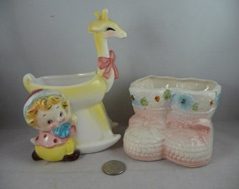 2 Small and Cute Vintage Nursery Planters Boots and Girl with Giraffe TLC