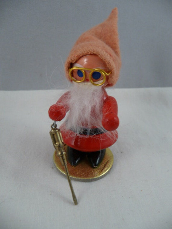 Vintage Little Working Gnome Wood Christmas Ornament