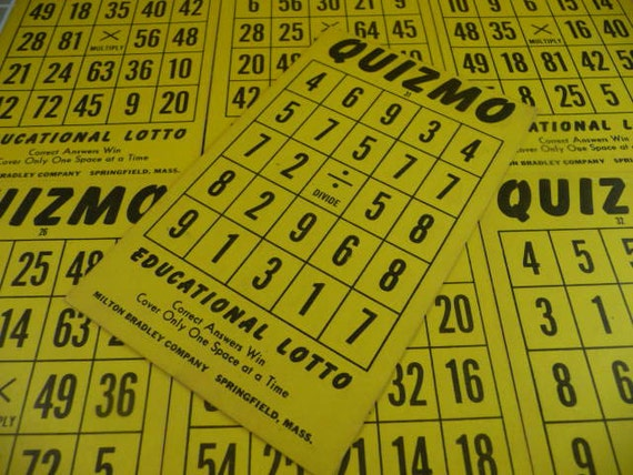 10 Vtg 1950s QUIZMO Multiplication Math Flash Card Lotto Game