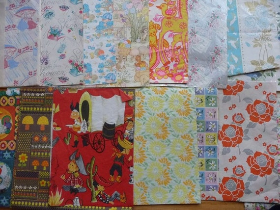 Lot of 16 Vintage Wrapping Paper Scraps Baby Wedding Shower Mixed