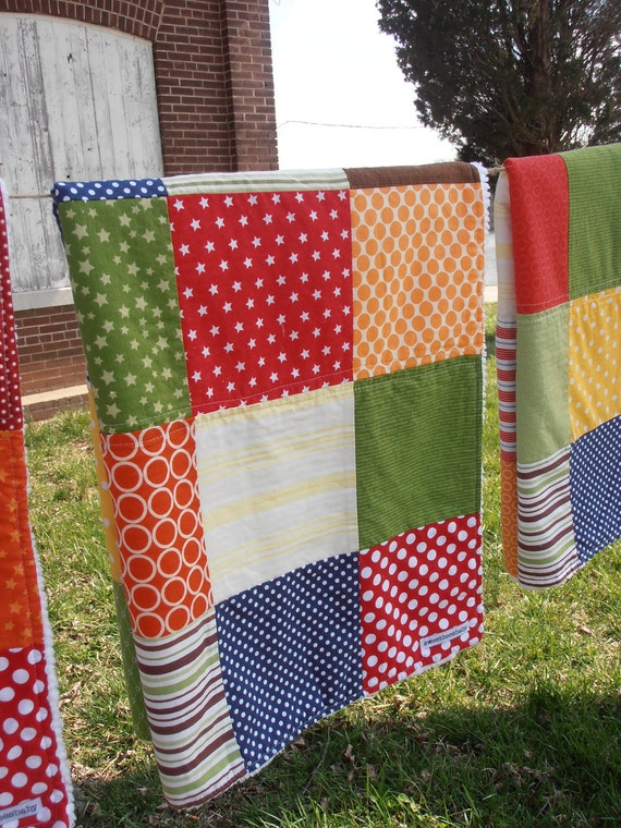 patchwork quilted baby coverlet