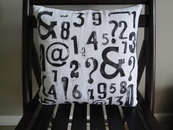Hand Stamped Numerology Removable Pillow Cover with Insert - 14x14 White & Black
