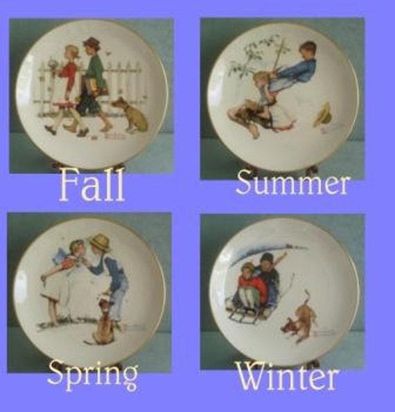 SALE ITEM Vintage Four Piece Norman Rockwell Four Seasons Plates Set