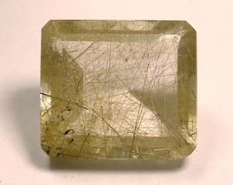 70.5 carat  ......  Faceted Rutilated Quartz Gemstone   ........ 26 X 23 X 15 MM