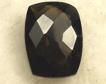 13 Carat  ...  Checkerboard Cut Faceted Smokey Quartz Gemstone ... 18 x 13 x 9 MM