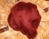 Corriedale Top Wool Roving dyed Warm Wine burgandy 4 oz