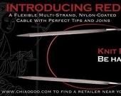 Sizes 0-11 24 Inch length ChaiaGoo Red - Premium Knitting Needle - fixed circular