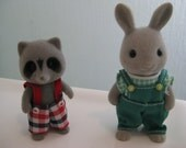 VINTAGE Sylvanian Families Calico Critters raccoon and bunny
