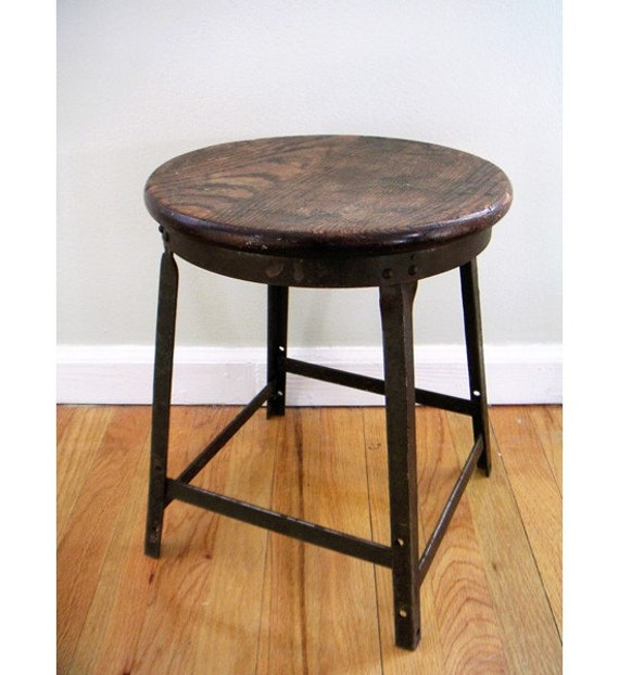 Short Wooden Stools ~ Vintage wooden metal short stool