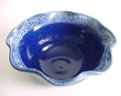 Serving bowl.. Royal Blue and Snowy White Handmade stoneware pottery