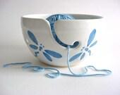 Dragonfly Yarn bowl  Handmade Pottery (yh273n)