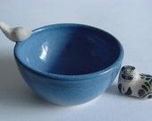 Blue  Birdie  Bowl,  Handmade Stoneware Pottery