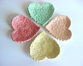 Lace heart trays, Hand built stoneware pottery