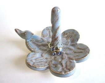 Ring holder, Wedding ring dish, lovebirds wedding, engagement gift, Handmade ceramic art pottery