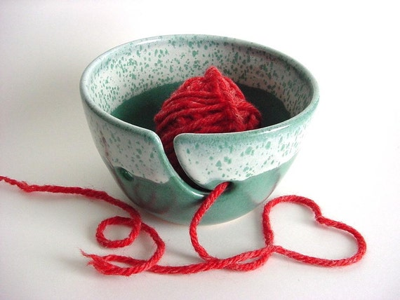 Yarn bowl Turquoise YH200n  handmade stoneware pottery