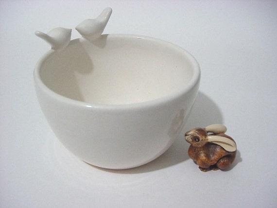 SALE... Love Bird's Heart Bowl,  Handmade Stoneware Pottery