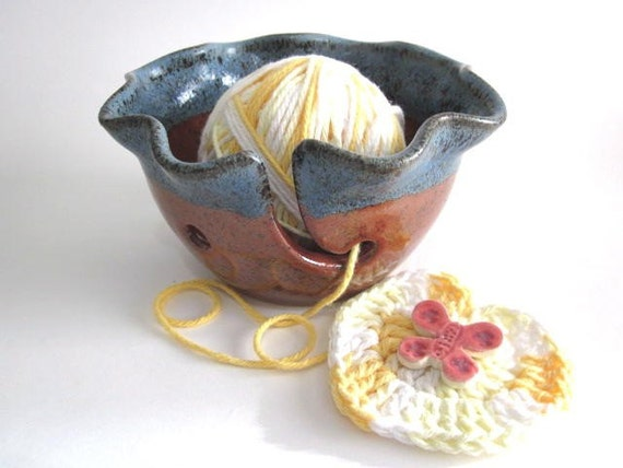 Red and blue Yarn Bowl, Knitting bowl, Fall ceramic pottery
