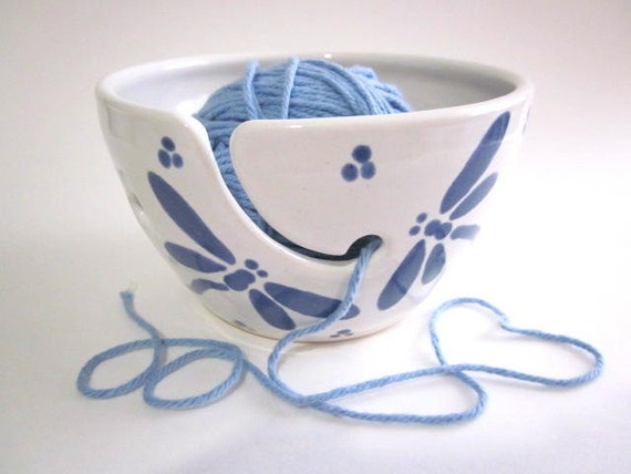Best Dragonfly Yarn bowl, Yarn holder, Pottery bowl, Ceramic Knitting bowl  pottery (K)