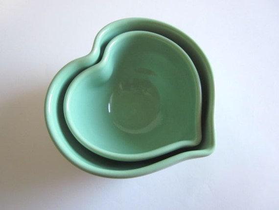 Mint green Nesting Heart Bowls, heart bowl, serving bowl, heart dish, Handmade stoneware pottery