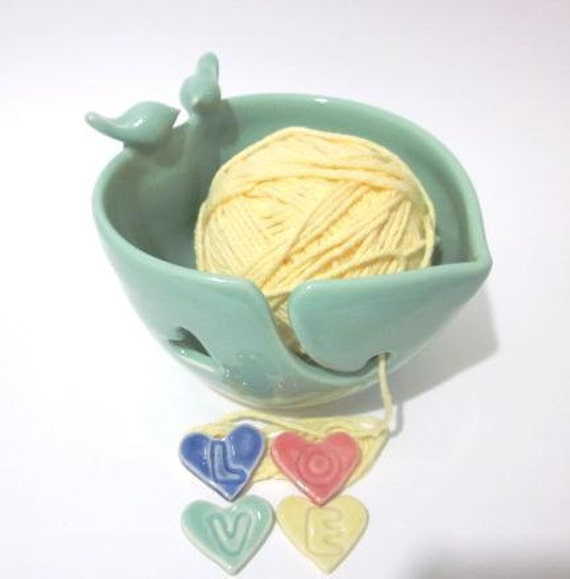 Lovebirds Yarn bowl, Heart Yarn holder, Mint green, Handmade  ceramic pottery, C