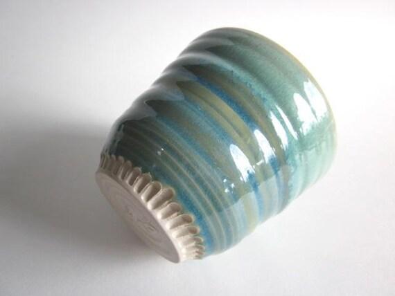 Tea Bowl  Mint green  Art Vessel Handmade ceramic pottery