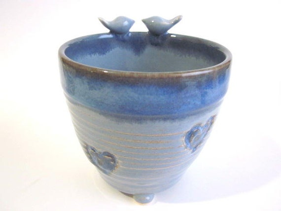 planter with blue birds and hearts, succulant planter, flower planter, Handmade pottery