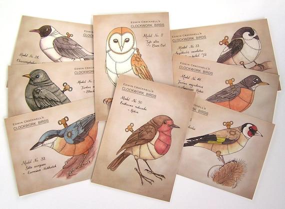 8 Clockwork Bird Postcards - steampunk bird illustrations