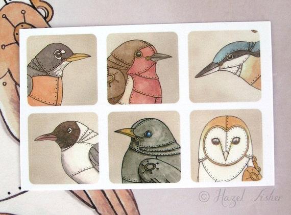 Clockwork Bird Stickers - steampunk illustration, acid free vinyl - scrapbooking