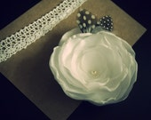 Large white posy with spotted guinea feathers - Hair clip or brooch